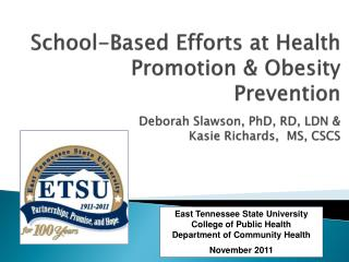 East Tennessee State University College of Public Health Department of Community Health
