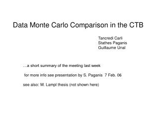 Data Monte Carlo Comparison in the CTB