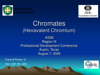 Chromates (Hexavalent Chromium)