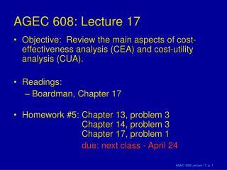 AGEC 608: Lecture 17