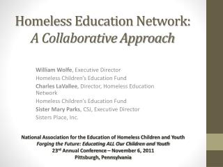 Homeless Education Network:  A Collaborative Approach