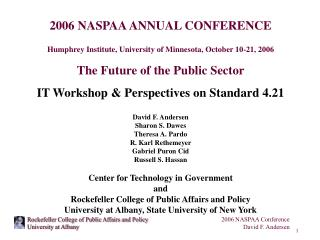 2006 NASPAA ANNUAL CONFERENCE Humphrey Institute, University of Minnesota, October 10-21, 2006