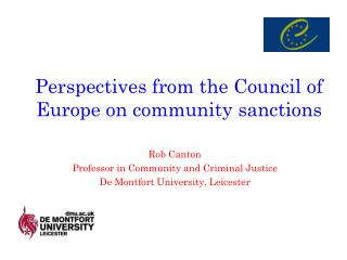 Perspectives from the Council of Europe on community sanctions