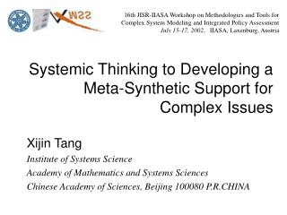 Systemic Thinking to Developing a Meta-Synthetic Support for Complex Issues
