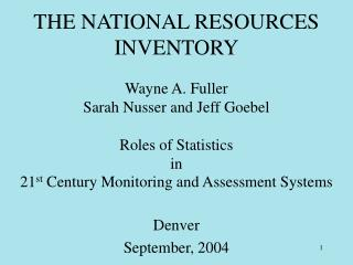THE NATIONAL RESOURCES INVENTORY