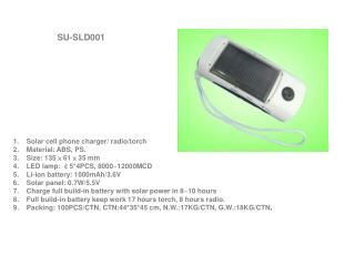 Solar cell phone charger/ radio/torch Material: ABS, PS. Size: 135 × 61 × 35 mm