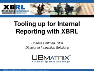 Tooling up for Internal Reporting with XBRL