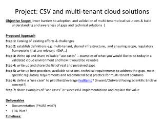 Project: CSV and multi-tenant cloud solutions