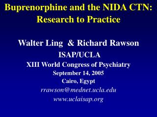 Buprenorphine and the NIDA CTN: Research to Practice