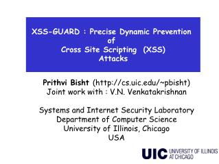 XSS-GUARD : Precise Dynamic Prevention  of  Cross Site Scripting  (XSS) Attacks