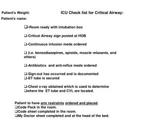 ICU Check list for Critical Airway: