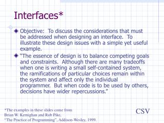 Interfaces*