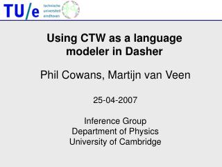 Using CTW as a language  modeler in Dasher