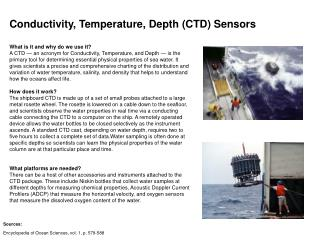 Conductivity, Temperature, Depth (CTD) Sensors