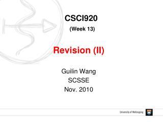 CSCI920 (Week 13)