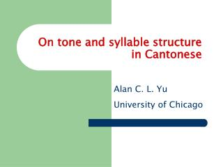 On tone and syllable structure in Cantonese