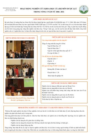 HOẠT ĐỘNG NGHIÊN CỨU KHOA HỌC CỦA BỘ MÔN DƯỢC LỰC  TRONG VÒNG 5 NĂM TỪ 2006- 2011