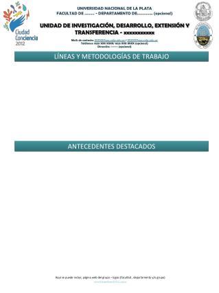 UNIDAD DE INVESTIGACIÓN, DESARROLLO, EXTENSIÓN Y TRANSFERENCIA -  xxxxxxxxxxx
