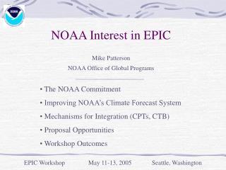 NOAA Interest in EPIC