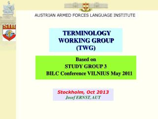 TERMINOLOGY WORKING GROUP  (TWG)