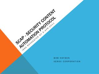 SCAP - Security content automation Protocol