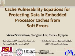 Cache Vulnerability Equations for Protecting Data in Embedded Processor Caches from  Soft Errors