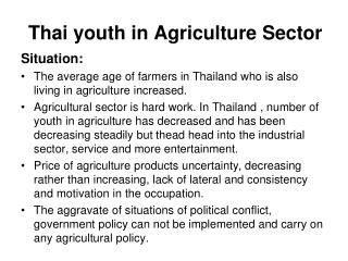 Thai youth in Agriculture Sector