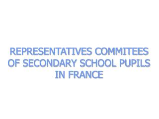 REPRESENTATIVES COMMITEES OF SECONDARY SCHOOL PUPILS  IN FRANCE