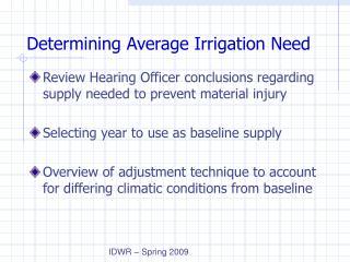 Determining Average Irrigation Need