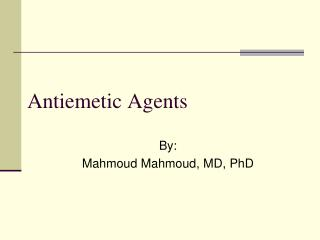 Antiemetic Agents