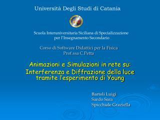 Corso di Software Didattici per la Fisica Prof.ssa C.Petta