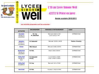 L�AS au Lyc�e Simone Weil    42272 St Priest en jarez