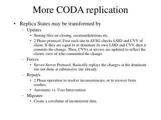 More CODA replication