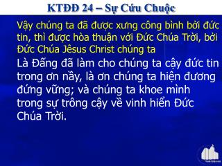 KTĐĐ 24  –  Sự Cứu Chuộc