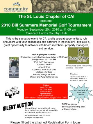 The St. Louis Chapter of CAI presents 2010 Bill Summers Memorial Golf Tournament