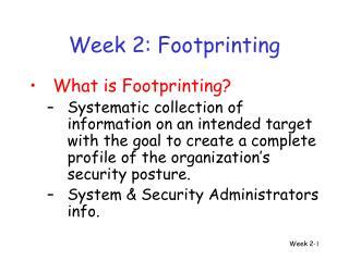Week 2: Footprinting