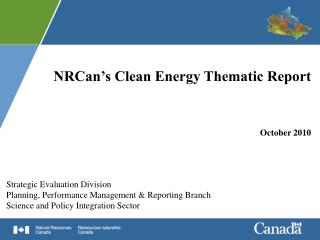 NRCan's Clean Energy Thematic Report October 2010