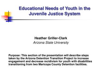 Educational Needs of Youth in the Juvenile Justice System