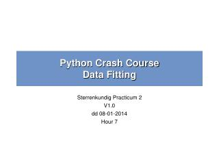 Python Crash Course Data Fitting