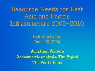 Resource Needs for East Asia and Pacific Infrastructure 2005-2010 Bali Workshop June 28,2004