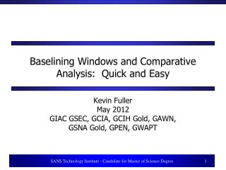 Baselining Windows and Comparative Analysis:  Quick and Easy
