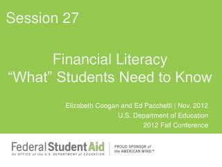 "Financial Literacy ""What"" Students Need to Know"