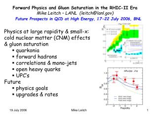 Forward Physics and Gluon Saturation in the RHIC-II Era Mike Leitch – LANL  (leitch@lanl)