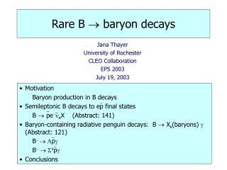Rare B  ?  baryon decays
