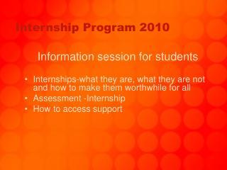 Internship Program 2010