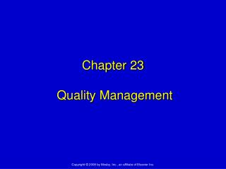 Chapter 23  Quality Management