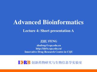 Advanced Bioinformatics Lecture 4: Short presentation A