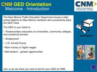CNM GED Orientation