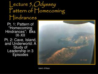 Lecture 5, Odyssey  Pattern of Homecoming Hindrances