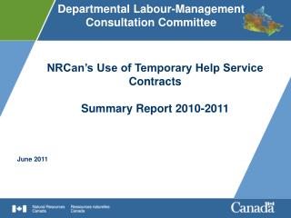 NRCan's Use of Temporary Help Service Contracts Summary Report 2010-2011